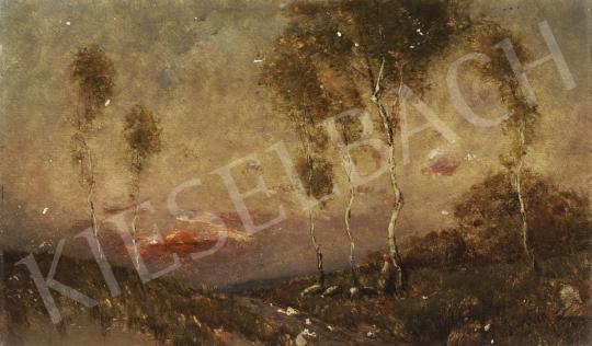 Eladó Albert Ferenc - Pásztorlány naplementével festménye