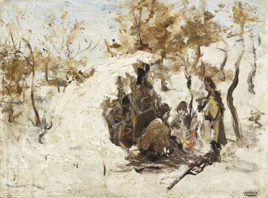 Eladó Bruck Lajos - Téli vadászat festménye