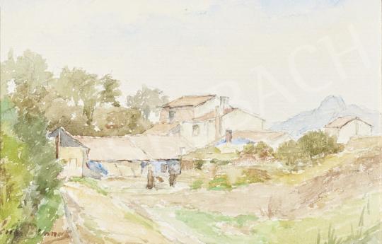 Eladó  Ismeretlen festő Brunet jelzéssel - Domboldal házakkal festménye