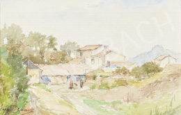 Ismeretlen festő Brunet jelzéssel - Domboldal házakkal