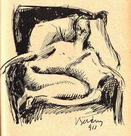 Berény Róbert - Vázlat a Fotelben ülő akt c. festményhez, 1911