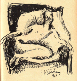 Berény, Róbert - Study for the painting of 'Nude Sitting in an Armchair', 1911