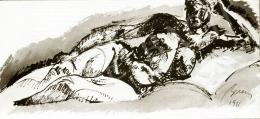 Berény, Róbert - Lying Female Nude, 1911
