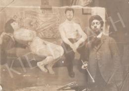 Berény Róbert - Berény Róbert Párizsi bordélyban című festménye előtt, 1906 körül