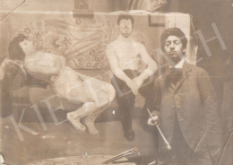 Berény, Róbert - Róbert Berény in front of his painting 'In a Disorderly House of Paris', c. 1906