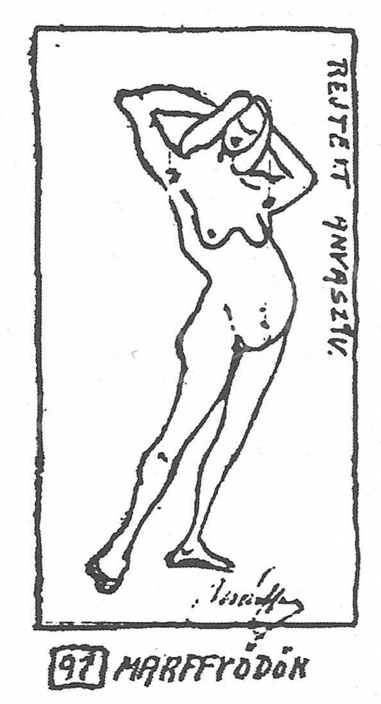 Márffy, Ödön - Caricature of Wollermann regarding the painting Bathing Woman (1908) of Ödön Márffy painting