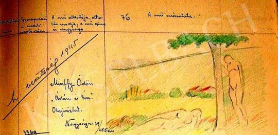 Márffy Ödön - Kettős akt (Ádám és Éva), Kovács Józsi Jenő rajzmásolata, 1909 körül festménye