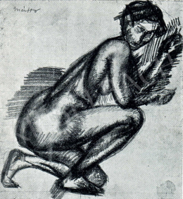 Márffy, Ödön - Female Nude (Kneeling into the Hauddle), 1911