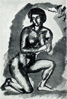 Márffy, Ödön - Female Nude (Half Kneel to Stand), 1911