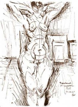 Berény, Róbert - Study of a Nude dedicated to Ignotus