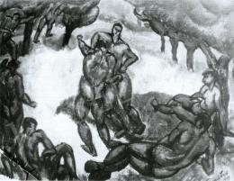 Tihanyi Lajos - Birkózók, 1909