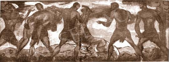 Kernstok, Károly - Hunters (Study), 1912 painting