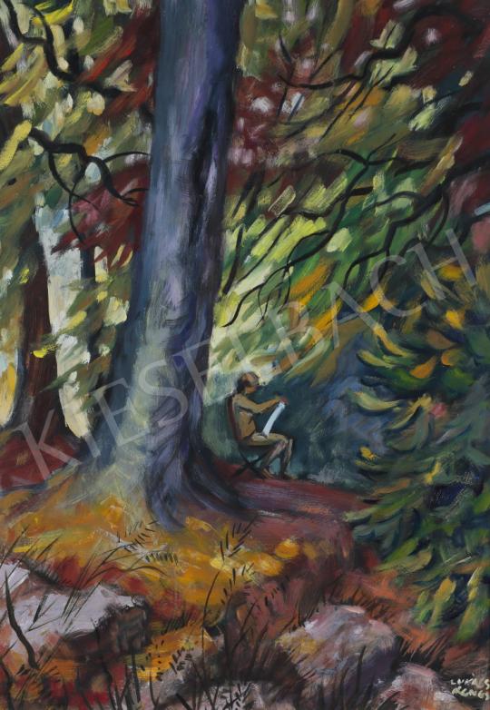 Lukács Ágnes - Festőnő az erdőben, 1989 festménye