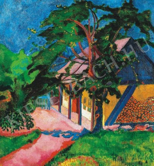 Perlrott Csaba Vilmos - Verőfényes udvar Nagybányán, 1907 festménye