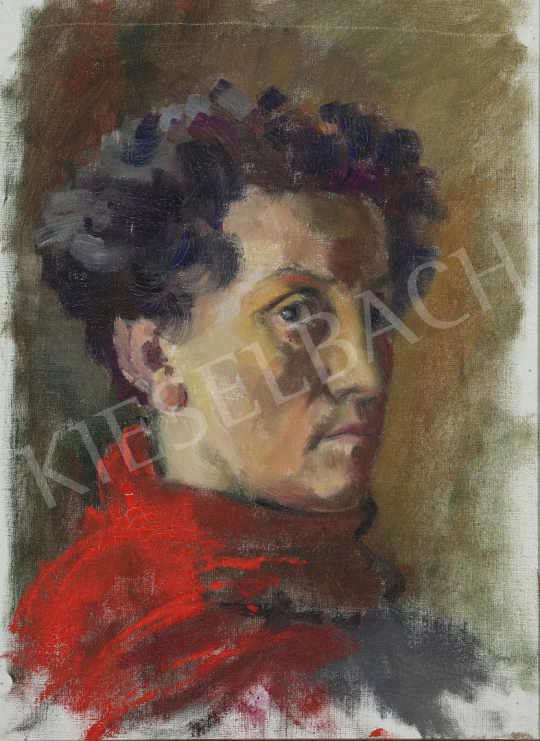 For sale Lukács, Ágnes - Self-portrait with Red Scarf, 1960 's painting