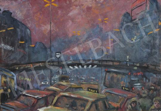 Lukács Ágnes - A Nyugati tér este, 1988 festménye