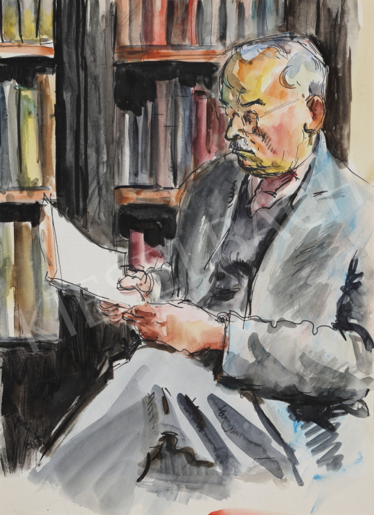 Lukács, Ágnes - Dad Read in the Library, 1958 painting