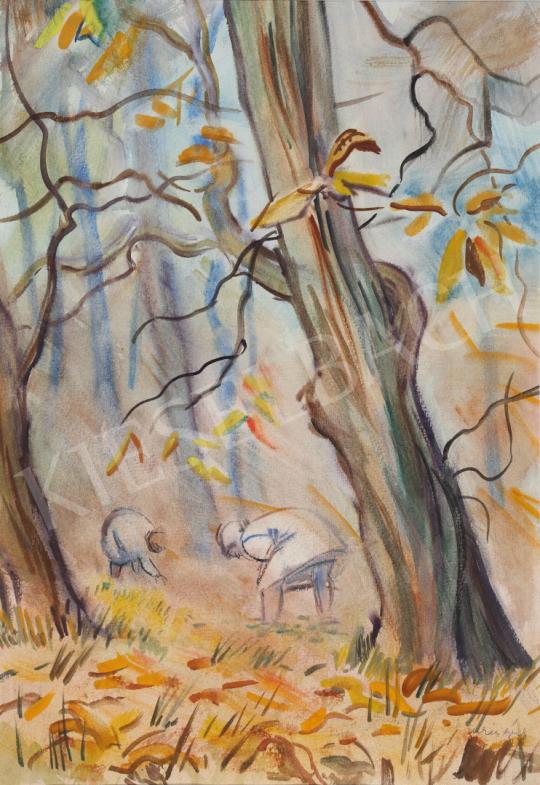 Eladó Lukács Ágnes - Gesztenyeszedők, 1981 festménye