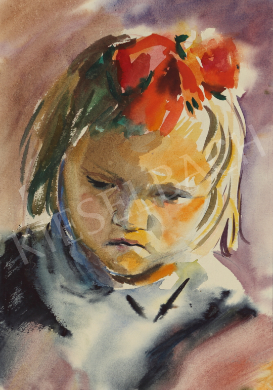 For sale Lukács, Ágnes - Girl with Red Bow, 1960 's painting