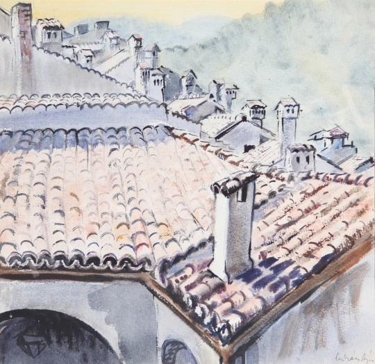 Eladó  Lukács Ágnes - Tirnovói háztetők, 1983 festménye