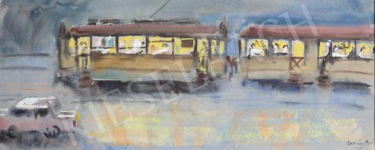 Lukács Ágnes - Esti villamos, 1968 festménye