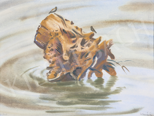 Eladó Lukács Ágnes - Farönk a vízben, 1976 festménye