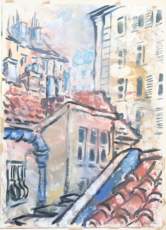 Lukács Ágnes - Párizsi házak, 1975 festménye