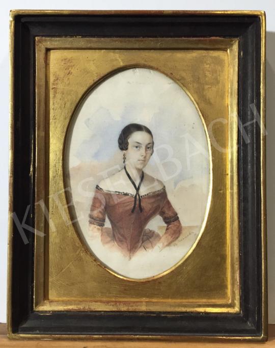Eladó  Ismeretlen közép-európai művész, 1845 körül - Fiatal lány fülbevalóval, 1845 körül festménye