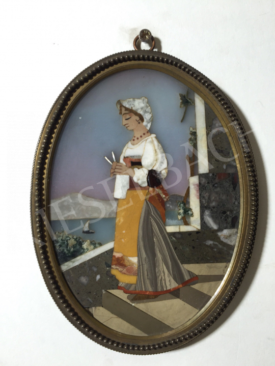 For sale  Unknown Italian Artist, second half of the 19th - Girl with a Knitting-Pin 's painting