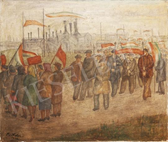 Eladó  Lám Ilona - Nemzeti felvonulás, 1946 festménye