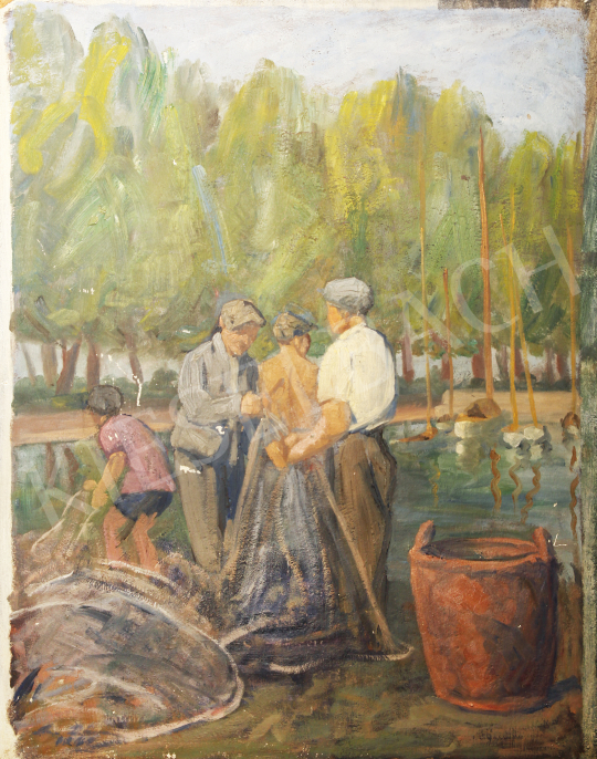 For sale  Lám, Ilona (Lám Ilus, Sz. Lám Ilona) - Fishermen in Szemes 's painting