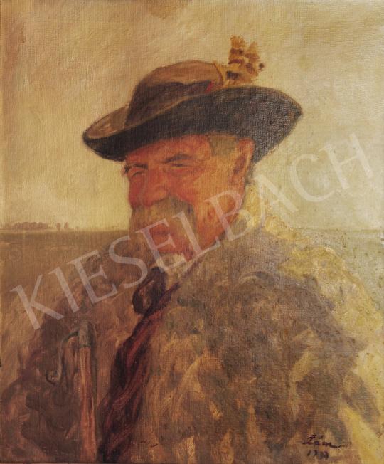 For sale  Lám, Ilona (Lám Ilus, Sz. Lám Ilona) - Old Shepherd Man Portrait, 1937 's painting