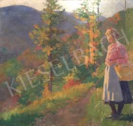 Ismeretlen magyar festő - Fiatal lány kosárral