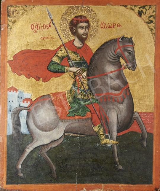 Eladó  Görög ikonfestő, 19. század eleje - Szent György, görög ikon, 19. század eleje festménye