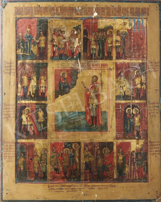 Eladó  Orosz ikonfestő, 19. század első fele - Bibliai hős élete, orosz ikon, 19. század első fele festménye