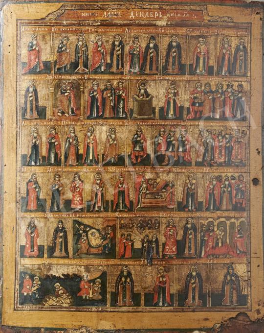 Eladó  Orosz ikonfestő, 19. század - Orosz naptárikon/December, 19. század festménye