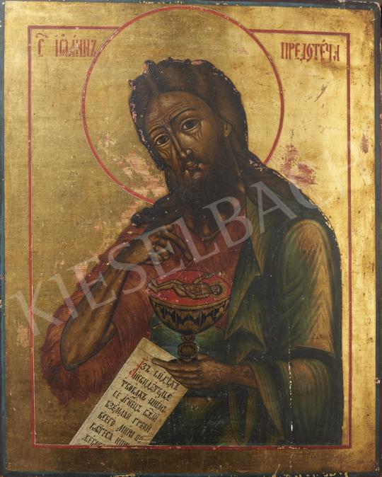 Eladó  Orosz ikonfestő, 18. század körül - Szent János a grállal, orosz ikon, 18. század körül festménye