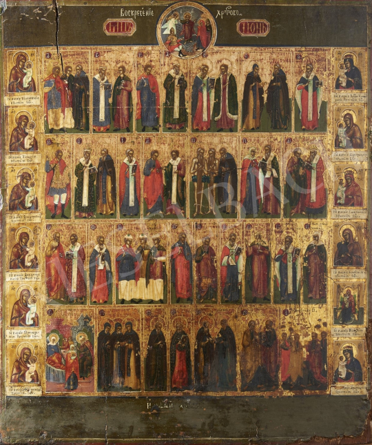 Eladó  Orosz ikonfestő, 19. század első fele - Orosz naptárikon/Június, 19. század első fele festménye