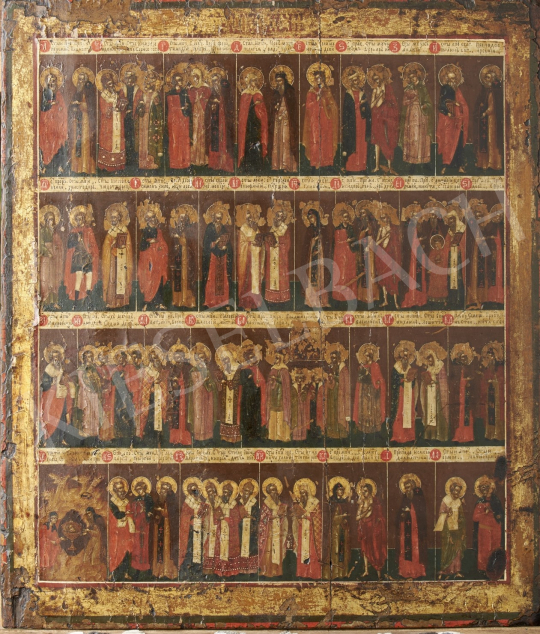 Eladó  Orosz ikonfestő, 19. század első fele - Orosz naptárikon, 19. század első fele festménye