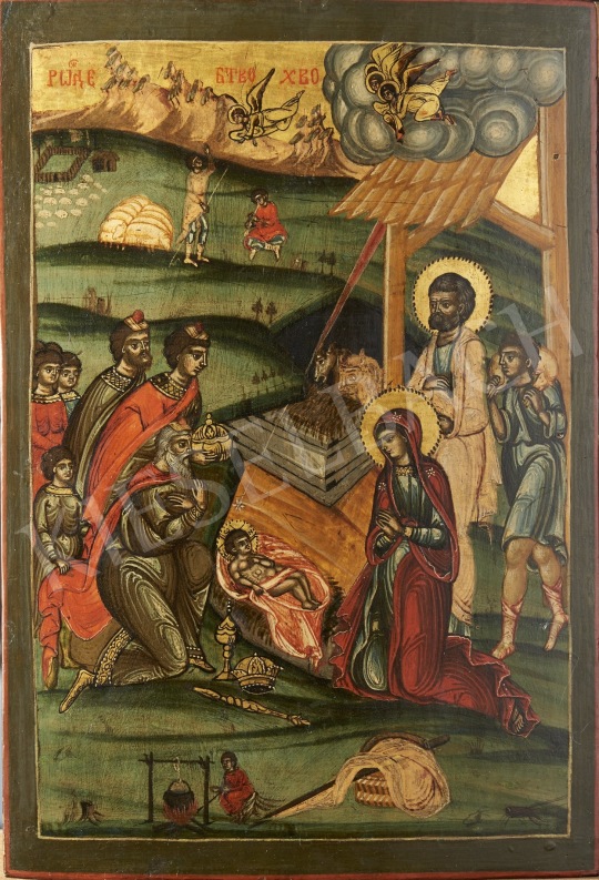 For sale  Greek Ikonpainter, 19th Century - Birth of Jesus, Greeak Ikon, 19th Century 's painting