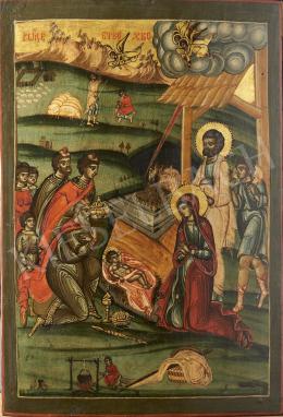 Görög ikonfestő, 19. század - Jézus születése, görög ikon, 19. század