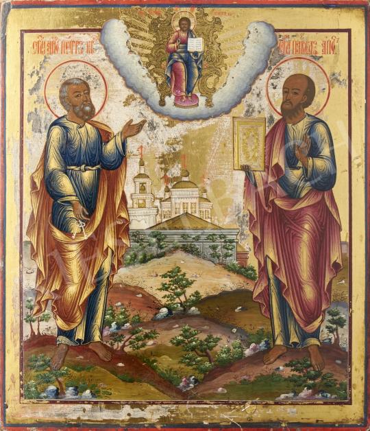 Eladó  Orosz ikonfestő, 19. század második harmada - Péter, Pál angyalok, orosz ikon, 19. század második harmada festménye