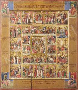 Orosz ikonfestő, 19. század - Krisztus élete, orosz ikon, 19. század