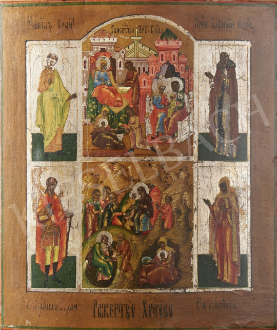 For sale  Russian Ikonpainter, 19th Century - The Birth of Christ, Russian Ikon, Restored, 19th Century 's painting