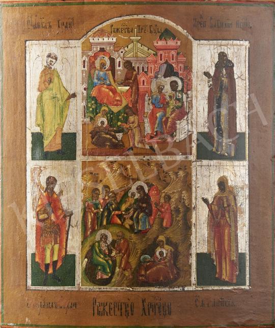 Eladó  Orosz ikonfestő, 19. század - Krisztus születése, orosz ikon, 19. század festménye