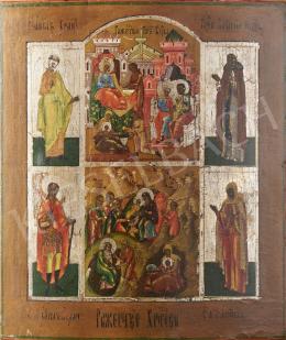 Orosz ikonfestő, 19. század - Krisztus születése, orosz ikon, 19. század