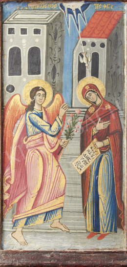 Szerb ikonfestő, 19. század - Angyali üdvözlet, szerb ikon, 19. század