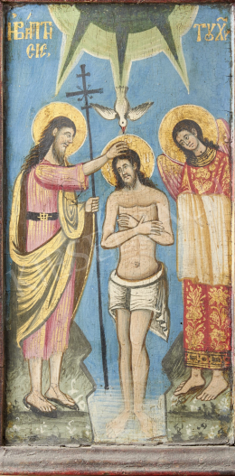 Szerb ikonfestő, 19. század - Krisztus keresztelése, szerb ikon, 19. század
