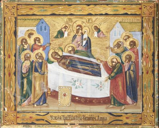 Eladó  Orosz ikonfestő, 19. század - Szűzanya halála, orosz ikon, 19. század festménye