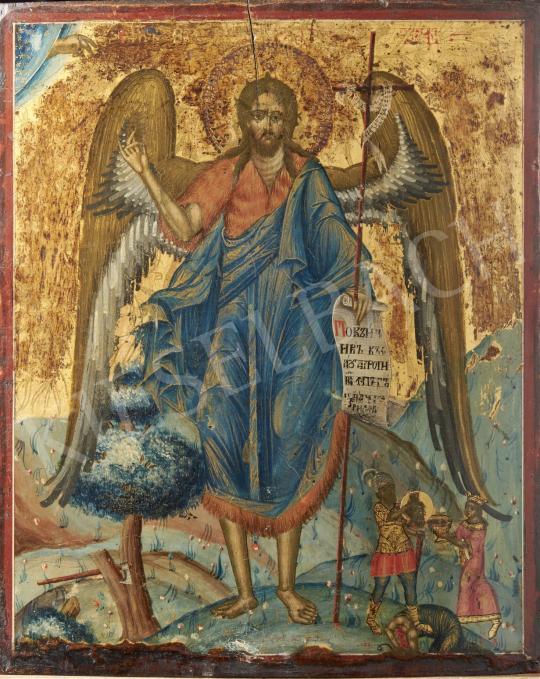 Eladó  Görög ikonfestő, 19. század - Szent János, görög ikon, 19. század festménye
